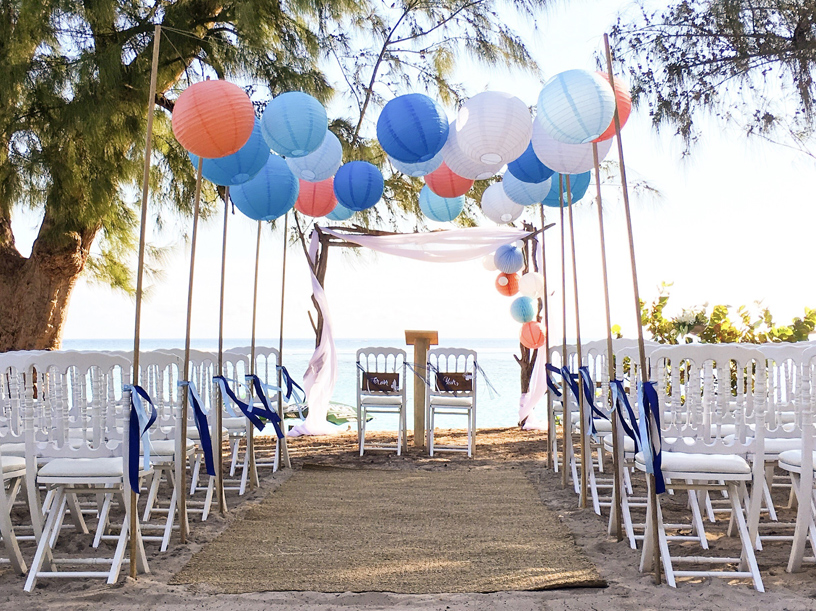 Beach wedding paper lanterns