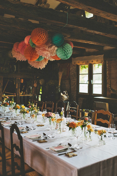paper lanterns over a party table