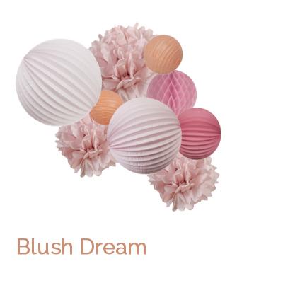 Blush paper lanterns grouping for nursery
