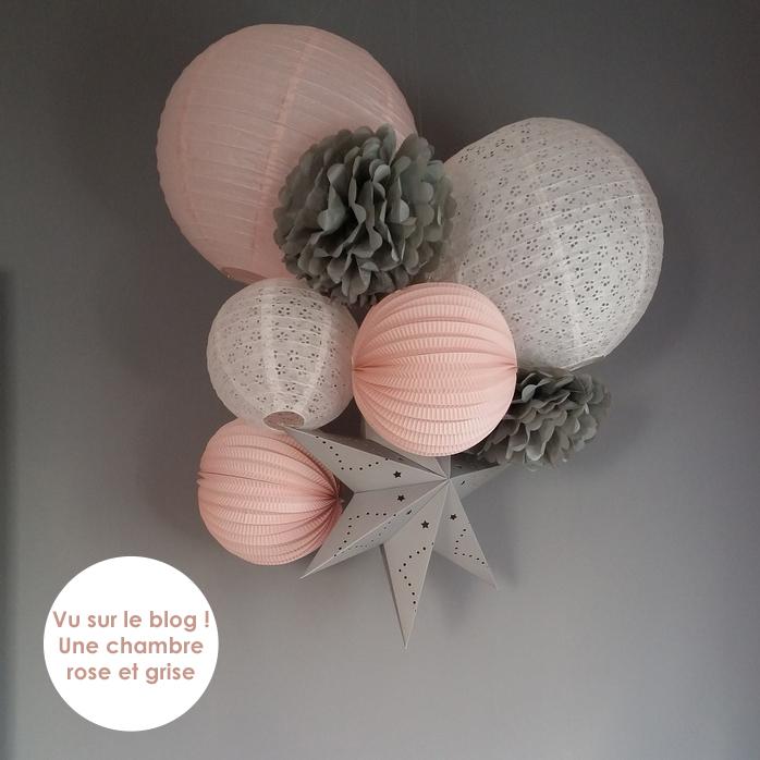 Déco chambre fille gris et rose poudré