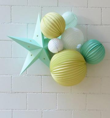 Idée cadeau kit de lampions menthe et jaune