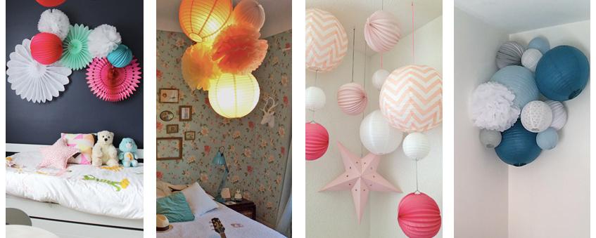 Accrocher des lampions au mur ou au plafond dans une maison