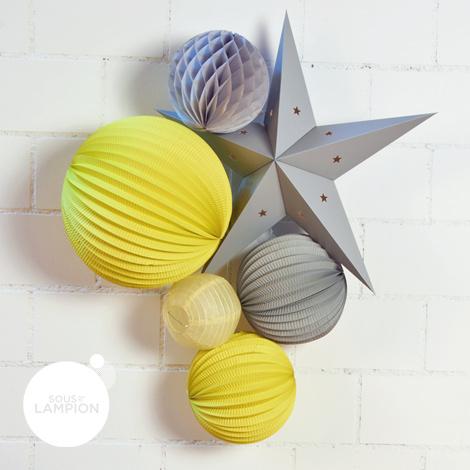 Idée cadeau kit de lampions gris et jaune