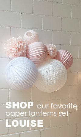 A paper lanterns set for a nursery or kids' bedroom
