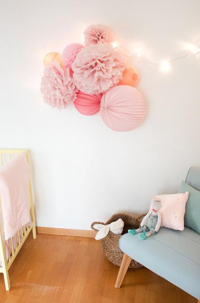 decoration rose pastel pour chambre de petite fille ou de bebe kit de lampions sous le lampion