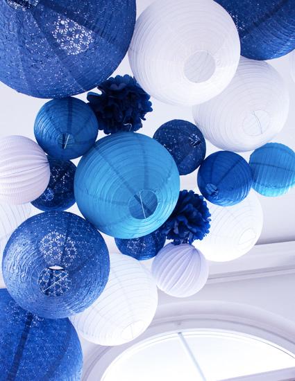 décoration de mariage en bleu et blanc
