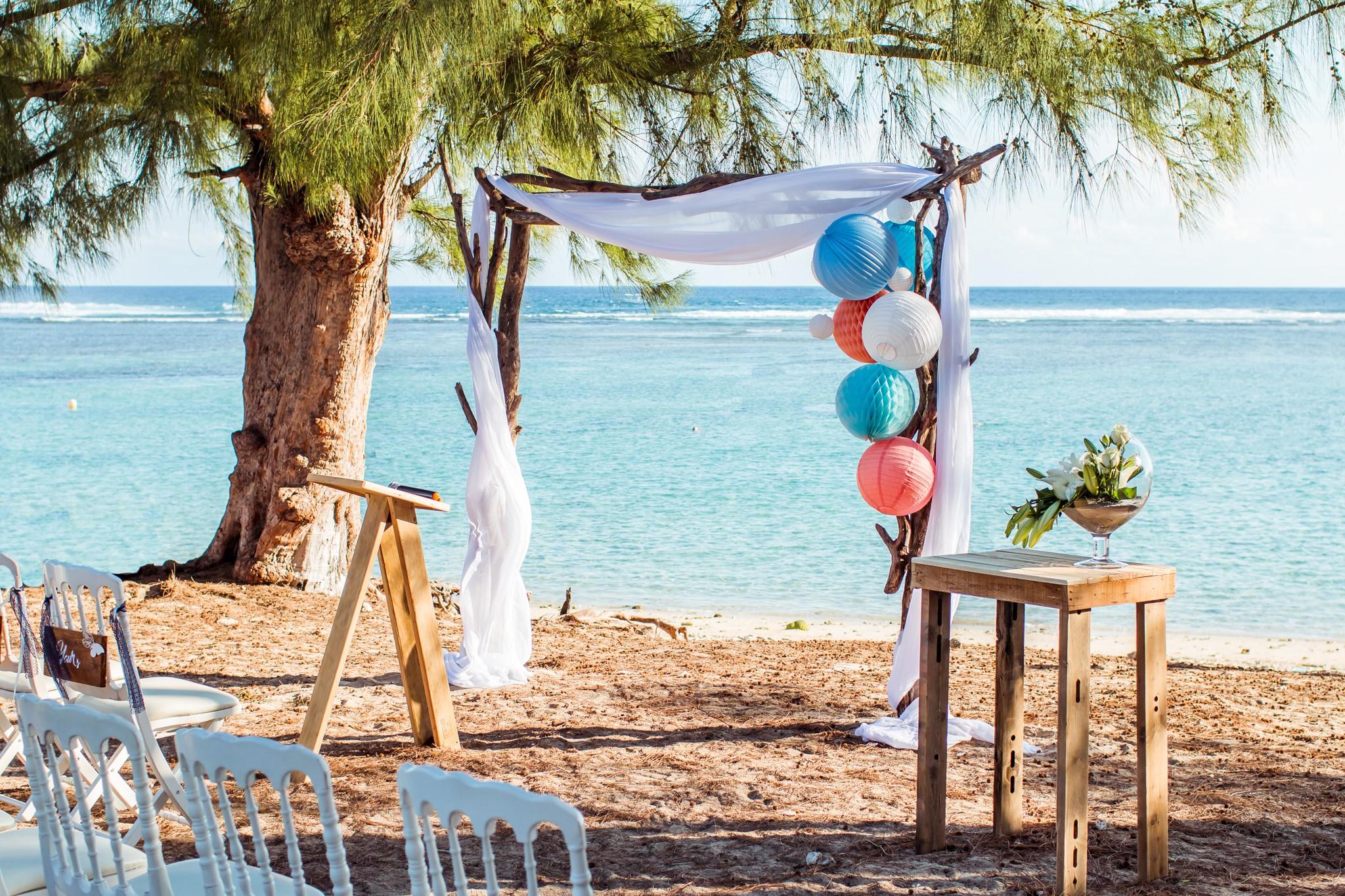 Lanterne mariage: thème bleu et bord de mer