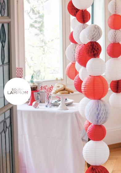 Noël rouge et blanc: décorations Sous Le Lampion