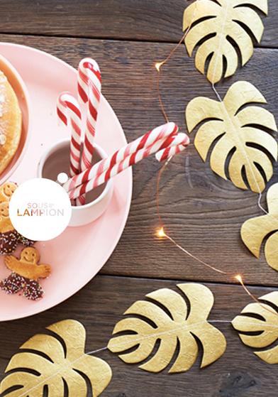 guirlande de feuilles doré pour Noël Sous Le Lampion