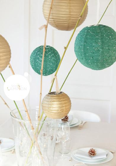 décoration de table de noël doré et vert - Sous Le Lampion