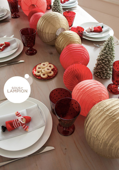 Décorations rouge et or pour Noël - Sous Le Lampion