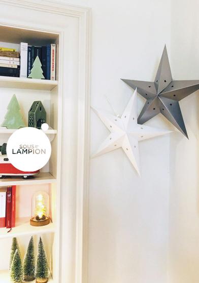 étoile éco Noël grise et blanche - Sous Le Lampion