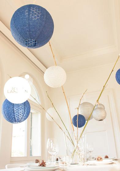 décorations de table de Noël en bleu - Sous Le Lampion