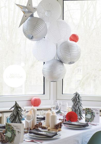 Noël blanc et gris: décorations Sous Le Lampion