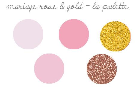 tendances décorations de mariage 2019: rose et or palette