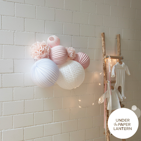 LOUISE paper lanterns set to hang on the wall