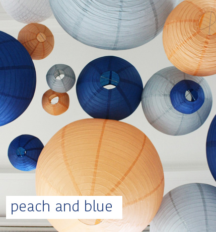 peach and blue wedding decor