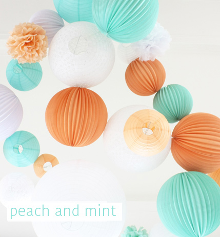peach and mint wedding decor