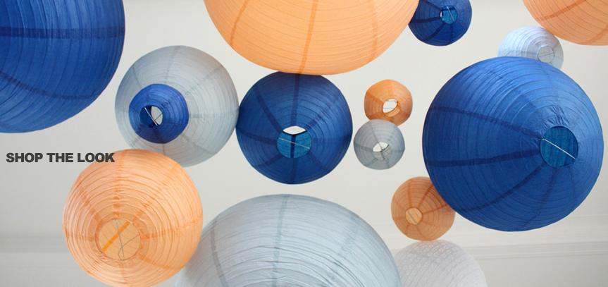 lanternes pêche et bleu