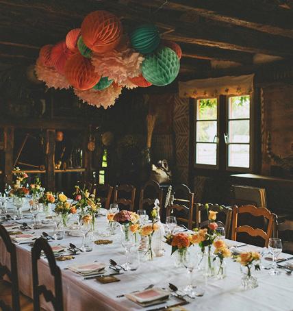 Lanterne mariage: décor de table des mariés