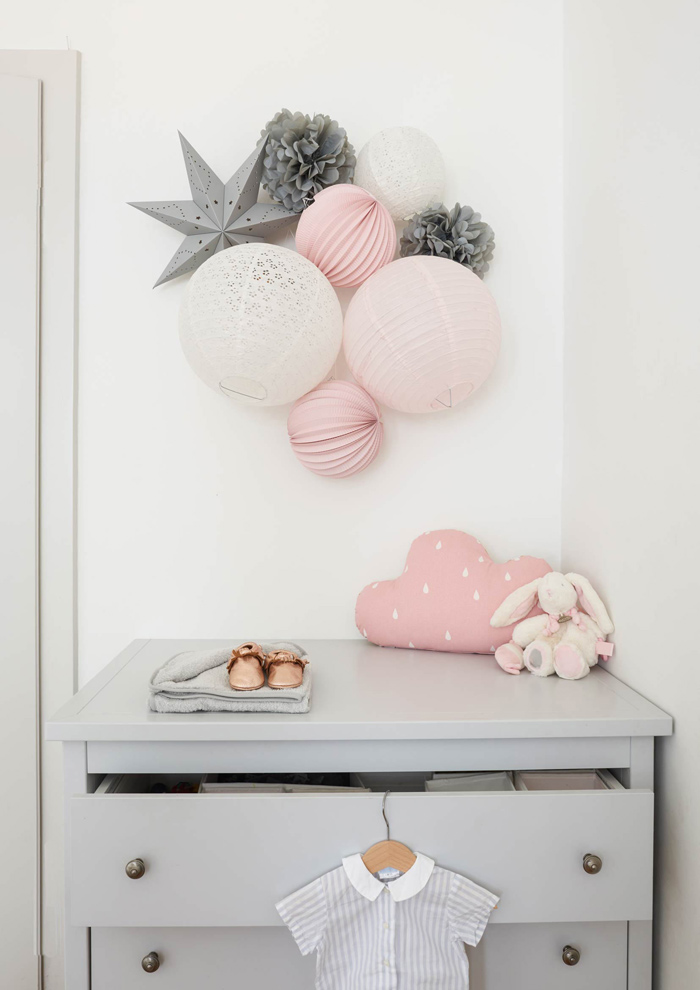 pink and grey paper lanterns wall decor for nursery decor | Under The Paper Lantern