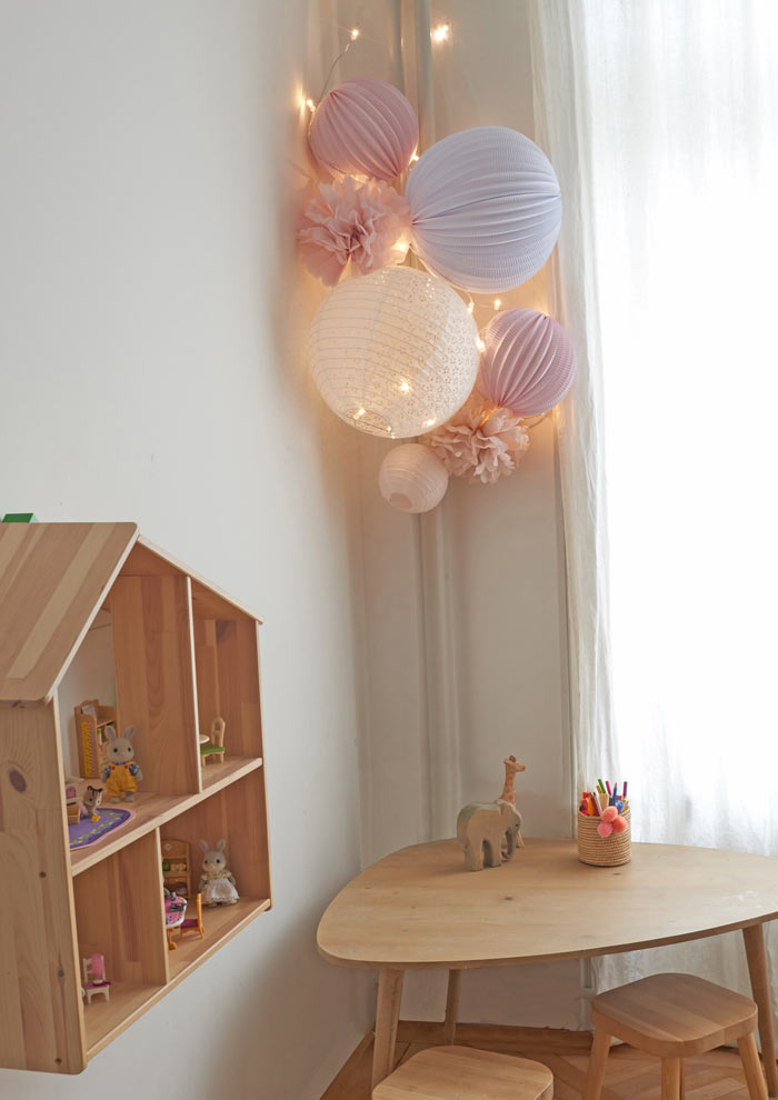 pink and white wall decor for nursery with Under The Paper Lantern