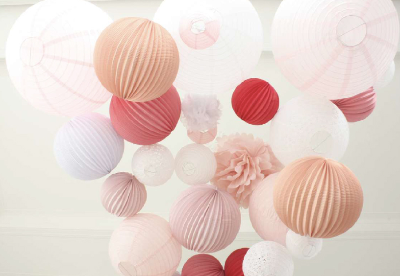 pink wedding paper lanterns