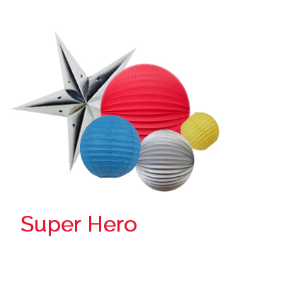 Super Hero paper lanterns for boys playroom