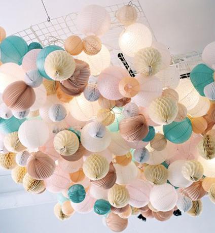 Décoration de plafond avec des lanternes en papier