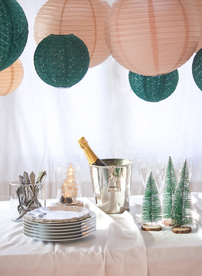 Décorations d'un buffet de réveillon traditions