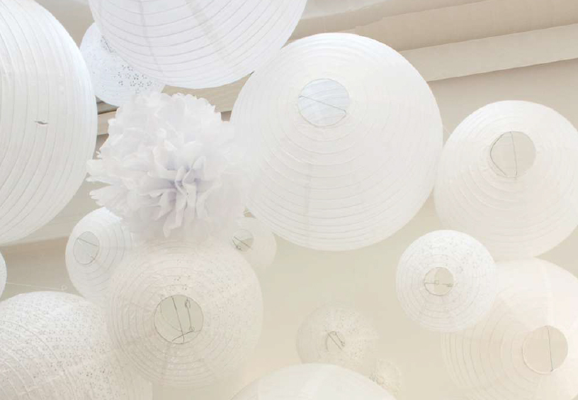 all white wedding decor